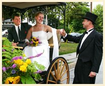 Windsong Horse & Carriage, Owner Gord Sturm helps the bride from the carriage on her wedding day
